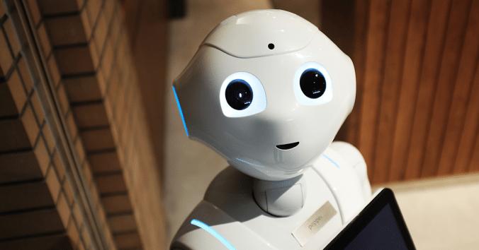 smiling robot making eye contact